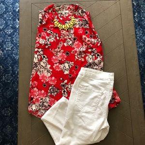 Rose & Olive floral red blouse